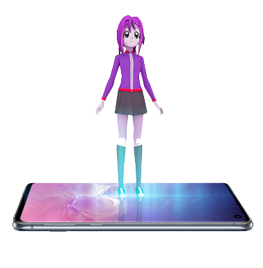 anime character standing on mobile